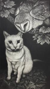 生田宏司「猫と猫頭鷹・出会い」銅版画 カラーメゾチント 額装 ふくろう 猫