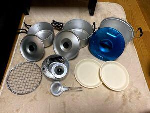 旧ロゴ エバニューの青い鍋、廃盤クッカー(EVERNEW COOK KIT)
