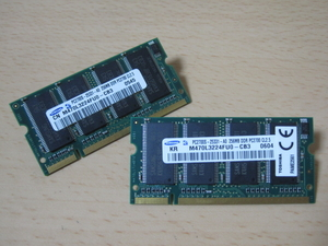 ** Junk PC parts ** SAMSUNG DDR-333 PC2700 256MB 200pin CL2.5/2 pieces set! * both sides chip installing * total 512MB! exhibition hour operation verification -SET-MD08