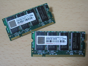 ** Junk PC parts ** Transcend DDR333 PC2700 512MB 200pin CL2.5/2 pieces set!* both sides chip installing * total 1GB! exhibition hour operation verification goods -SET-MD05