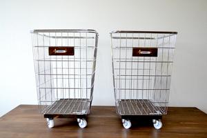 ワイヤーバスケット LLサイズ laundry キャスター付 アンティーク インダストリアル ステンレス