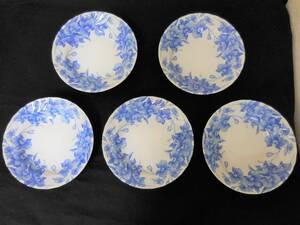 KA1156)胡蝶蘭 陶器 5点セット MARUSAN レトロ 古風 中皿