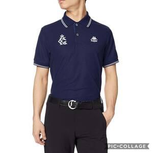 新品 カッパ ゴルフ 半袖 ポロシャツ Oサイズ 紺 ネイビー KGA12SS01 UVカット 吸汗速乾 消臭機能 ゴルフウェア メンズ 定価8,500円+税