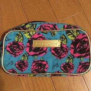 Betsey Johnson 化粧ポーチ ポーチ ミニバッグ バッグインバッグ トートバッグ 薔薇 花柄 ブルー ピンク 小物入れ