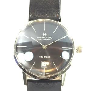▼HAMILTON ハミルトン H384551 イントラマティック 自動巻 裏スケ 黒文字盤 革ベルト メンズ腕時計 稼働品