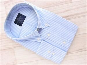 201008.206-6 CAPENTARIA ボタンダウン長袖ドレスシャツ ライトゼニスブルー×ホワイトストライプ 6L(51-90) 形態安定 綿100%