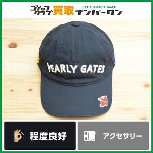 【程度良好 正規品】 パーリーゲイツ メンズ キャップ ネイビー フリーサイズ くまモンコラボ ニコちゃん ゴルフキャップ PEARLY GATES