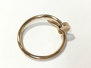 【美品】Cartier カルティエ ジュストアンクル リング 釘モチーフ K18PG 表記サイズ57 12.5号 指輪 ◆キンバリー姫路中地店◆