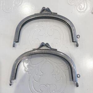 手芸用 がま口 口金 金属製 シルバーカラー ハンドメイド パーツ 10.5×6.8 2個セット