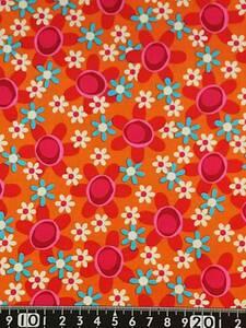 ★新品★USAコットン★カットクロス★オレンジ地ピンクと白と水色の花柄★