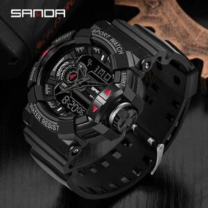 三田 599 スポーツ腕時計新メンズ腕時計 3ATM 防水 LED デジタル腕時計ミリタリーウォッチ男性時計ストップウォッチレロジオ Masculino