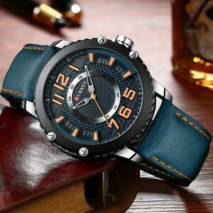 新しい革腕時計メンズトップブランドCURRENファッションメンズ時計因果ビジネスクォーツ腕時計ギフトレロジオ Masculino