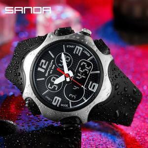 三田スポーツメンズ腕時計トップブランドの高級軍クォーツ時計デュアルディスプレイ防水腕時計レロジオmasculino 779