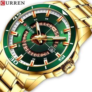 CURRENゴールド鋼男性腕時計クォーツ日付時計男性ブランド高級ビジネス腕時計メンズカジュアルスタイルレロジオ Masculino