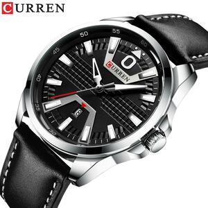 クリエイティブ時計腕時計男性ファッションの高級時計ブランドCURRENレザークォーツビジネス腕時計自動日付レロジオの Masculino