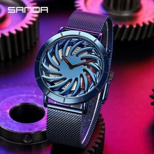 三田トップブランドの高級メンズ腕時計ファッション車のホイール回転ダイヤル腕時計防水クォーツ腕時計レロジオmasculino P056