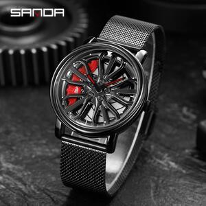 三田トップブランドのメンズ腕時計ファッションの高級クォーツ腕時計ホイールシリーズダイヤル防水時計男性レロジオmasculino 1057