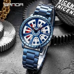三田2021トップブランドの高級男性の車ホイール腕時計ファッションスポーツ腕時計メンズクォーツリムハブ時計レロジオmasculino P1054