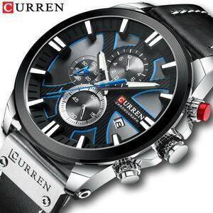 CURREN腕時計クロノグラフスポーツメンズ腕時計クォーツ時計革男性腕時計レロジオ Masculino ファッションギフト男性のための