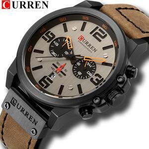 最新2018男性はカレントップブランドの高級クォーツメンズ腕時計革ミリタリー日付男性時計レロジオmasculino