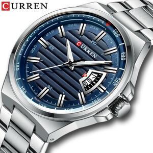 カレン新メンズビジネス腕時計フルスチールクォーツトップブランドの高級スポーツ防水カジュアル男性腕時計レロジオmasculino