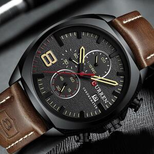 カレンクロノグラフファッションメンズ腕時計高級レザービジネスクォーツ腕時計メンズミリタリースポーツ腕時計レロジオmasculino