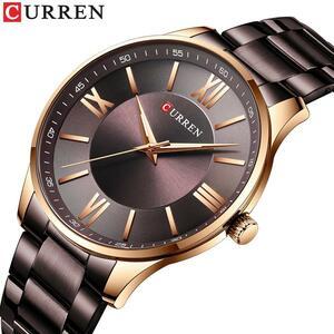 CURRENトップブランドメンズ腕時計カジュアル石英ステンレス鋼腕時計シンプルなファッション時計男性時計