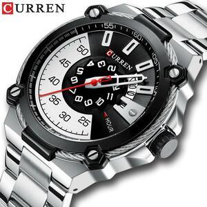 CURREN腕時計シルバーと黒腕時計メンズクォーツ腕時計ステンレススチールバンドファッション時計男性腕時計男スタイルリロイ