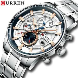 メンズ腕時計カレンnewファッションステンレス鋼トップブランドの高級多機能クロノグラフクォーツ腕時計レロジオmasculino