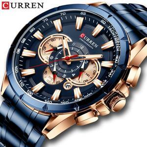 CURREN高級ブランドメンズ腕時計ブルークォーツ腕時計スポーツクロノグラフ時計男性ステンレス鋼バンドファッションビジネス腕時計