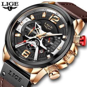 2020 ligeスポーツウォッチ男性トップブランドの高級軍事革メンズ腕時計時計ファッションクロノグラフ腕時計レロジオmasculino
