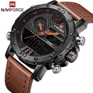 NAVIFORCE トップ高級ブランドメンズ腕時計アナログデジタル革陸軍軍事腕時計メンズクォーツ時計レロジオ Masculino
