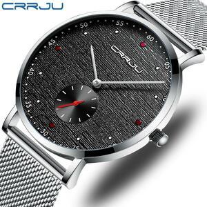 高級ブランドcrrjuメンズ腕時計クラシックビジネススリムクォーツ時計スタイリッシュなシンプルな防水鋼メッシュ時計レロジオmasculino