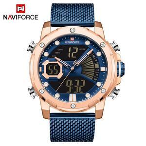 NAVIFORCE メンズ腕時計トップの高級ブランド男性スポーツ腕時計メンズクォーツ LED デジタル時計男性フル鋼軍事手首時計