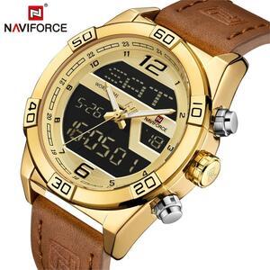男性腕時計 NAVIFORCE トップブランドの高級革スポーツ腕時計男性防水ミリタリークォーツデジタル時計レロジオ Masculino