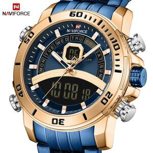 Naviforce 男性のスポーツウォッチミリタリーデジタルデュアルディスプレイ腕時計クォーツ防水時計男性レロジオ masculino 新 2020