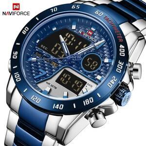 Naviforce 男性腕時計 30 メートル防水トップラグジュアリーブランドミリタリースポーツクォーツステンレス鋼 led デジタル時計レロジオ m