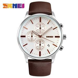 新2020男性は高級トップブランドskmeiファッション男性ビッグダイヤル革クォーツ時計男性時計腕時計レロジオmasculino