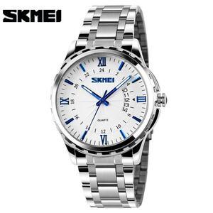 Skmei新ファッションの男性のステンレス鋼クォーツは、男性の腕時計ゴールドアナログ日付防水男性時計レロジオmasculino