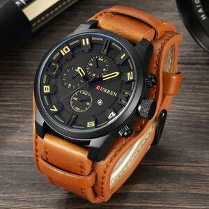 高級ブランドカレンメンズ軍事スポーツメンズ腕時計クォーツ日付時計カジュアルレザー腕時計レロジオmasculino 8225