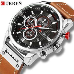 新は、男性の高級ブランドカレンクロノグラフ男性スポーツ腕時計高品質のレザーストラップクォーツ腕時計レロジオmasculino