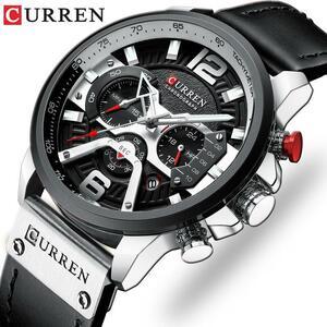 カレンメンズ腕時計トップブランドの高級革スポーツ腕時計メンズファッションクロノグラフクオーツマン時計防水レロジオmasculino