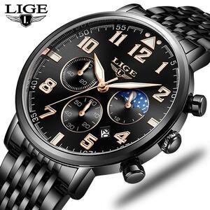 2019ファッションメンズ腕時計ligeトップブランドの高級時計男性スポーツフルスチール防水クォーツ時計ドレス腕時計レロジオmasculino