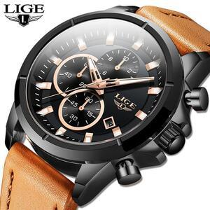 2020 ligeトップブランドのメンズ腕時計ファッションスポーツレザー腕時計メンズ高級日付防水クォーツクロノグラフレロジオmasculino + ボ