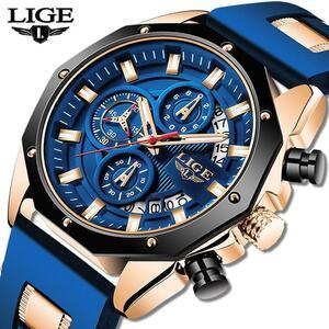 2020 lige新ファッションメンズ腕時計トップブランドの高級シリコンスポーツ腕時計メンズクォーツ日付時計防水腕時計クロノグラフ