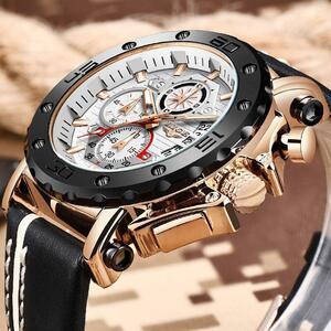 2020 lige新男性腕時計トップブランドファッションスポーツレザー腕時計メンズ高級日付防水クォーツクロノグラフレロジオmasculino