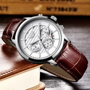 Lige 2020新しい腕時計メンズファッションスポーツクォーツ時計メンズブランド高級レザービジネス防水時計レロジオmasculino