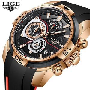 Lige 2020新ファッションメンズ腕時計シリコンストラップトップブランドラグジュアリースポーツクロノグラフ軍事防水時計レロジオmasculin