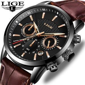 Lige 2020新メンズ腕時計トップブランドの高級男性ミリタリースポーツ腕時計メンズレザー防水クォーツ腕時計レロジオmasculino