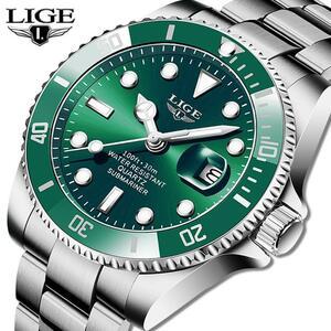 Ligeトップブランドの高級ファッションダイバー腕時計メンズ30ATM防水日付時計スポーツ腕時計メンズクォーツ腕時計レロジオmasculino